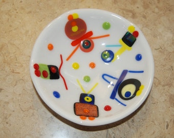 Robot Party Fused Glass Bowl