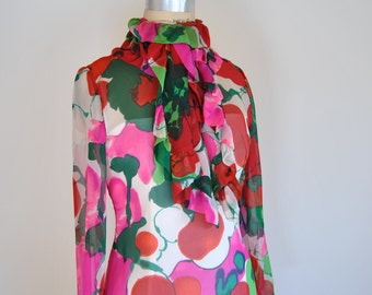 Silk Kiki Hart Maxi Dress Large Pink Floral Pattern 70s Party Made in USA Sz S/M