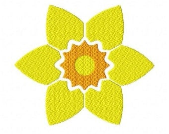 Daffodil flower machine embroidery design 3 inch instant download
