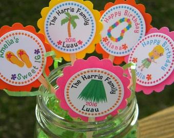 Personalized Hawaiian Luau Birthday Cupcake Toppers  - Luau Cupcake Toppers - Hawaiian Cupcake Toppers - Tropical Cupcake Toppers - Wedding