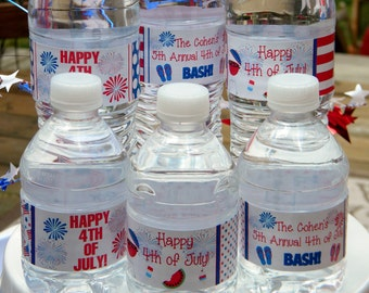 4th of July Water Bottle Labels - Personalized Independence Day Water Bottle Labels - 4th of July Party Favors - 4th of July Decor