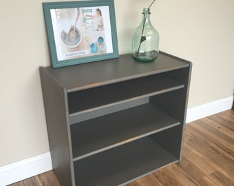 Grey Bookshelf, Wooden Bookcase, Distressed Bookcase, Small Bookshelf