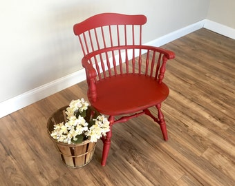 Nichols and Stone - Red Chair - Windsor Arm Chair - Occasional Chair - Distressed Painted - Country Chic