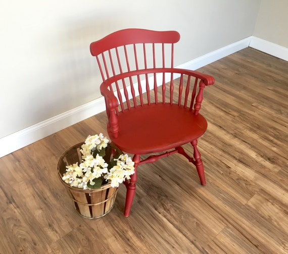 Nichols and Stone - Red Chair - Windsor Arm Chair - Distressed Painted Furniture - Occasional Chair - Country Chic Furniture