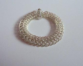 Chunky Silver Plated Chainmaille Bracelet