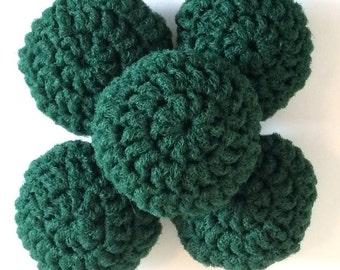 Nylon Net Scrubbies Set of 5 Forest Green