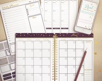 Undated Planner, Weekly Planner, Printable Calendar, Planner, Agenda, Black and Gold
