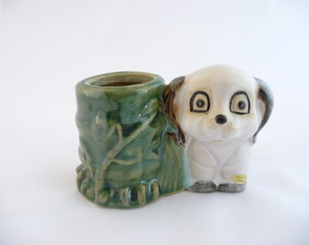 Vintage Puppy Planter, 1950's, Dog Planter, Two Dogs Planter ,