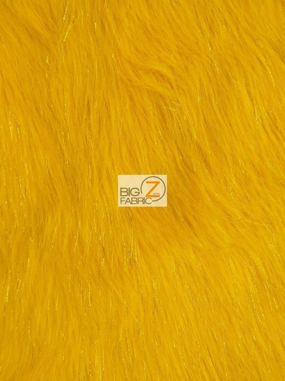 Faux fake fur solid shiny tinsel long pile fabric yellow
