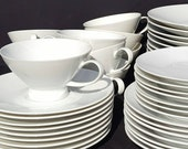 Raymond Loewy for Rosenthal, partial dinner and coffee set. White. Mid century modern design.