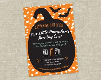 Halloween Birthday Costume Party Invitation // Pumpkin Birthday Invite Printable