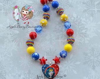 Wonder Woman Necklace Wonder Woman Chunky Necklace Superheroes bubblegum necklace wonder woman bubblegum necklace avenger chunky necklace