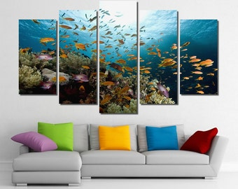 "60""x36"" Framed Huge 5 Panel Art Underwater Ocean Sea World Giclee Canvas Print - Ready to Hang"