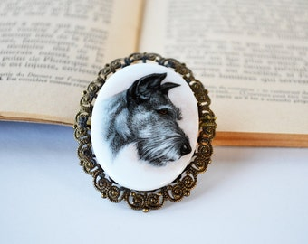 Vintage Dog Portrait Brooch | Western Germany | Brass Filigree | Terrier Dog | Dog Theme Pin | Dog Lover