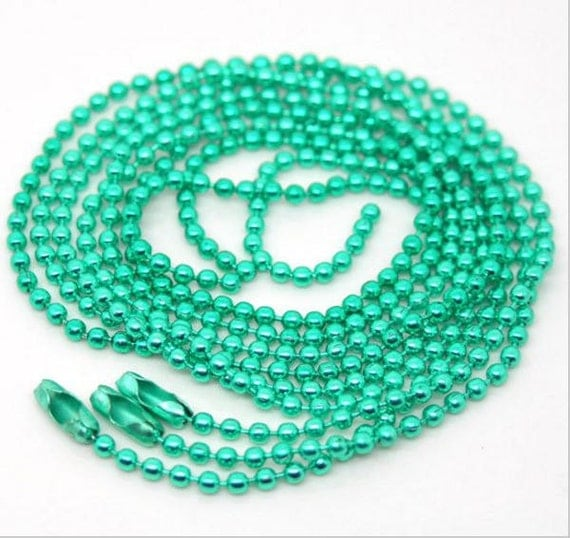 4 Pieces. Mint Green Ball Chain Necklace. 2mm Bead Connector. 70cm. DIY Ball Necklace.