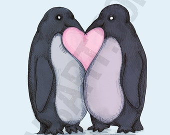 Penguin Kisses Fine Art Print