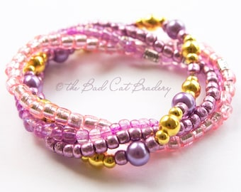 Boho Berries Bead Stack Stretch Bracelet with Silver, Gold, Pinks, Mauves, Purple, Foil, Glass