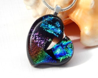 Little Dichroic Glass Heart Pendant - Fused Glass Jewelry - Art Glass Necklace