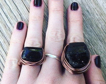 Black Tourmaline - Large Chunky Crystal Ring - Knuckle Duster - Copper Gemstone Ring - Tourmaline Gemstone Ring - Choose Size & Color Finish