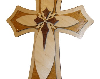 "Decorative Wood Cross Layered Wooden Crosses 15"" Inch Tall"