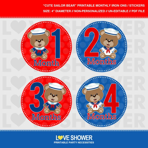 Cute sailor bears printable monthly stickers or iron on transfers il570xn solutioingenieria Choice Image