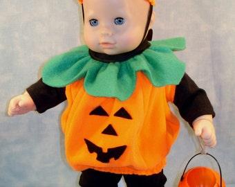 15 Inch Doll Clothes - Pumpkin Halloween Costume handmade by Jane Ellen to fit 15 inch baby dolls