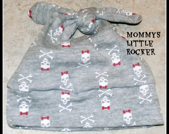 Girly Skull Bow Beanie Newborn Size Made to Order