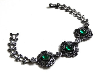 Antique Silver Bracelet Emerald Green Cabachons Forget Me Not Flowers Art Nouveau Downton Abbey Sweetheart Jewelry