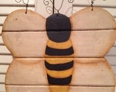 Primitive Bumble Bee Door or Porch Folk Art Decoration, Reversible, Hand Crafted and Painted