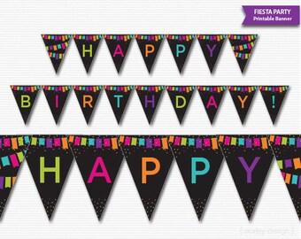 Fiesta Party Banner Printable Fiesta Banner Fiesta Birthday Banner Confetti Flags Black Birthday Party Banner Fiesta Birthday Party Decor