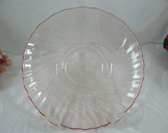 Vintage Arcoroc France Pink Glass Swirl Saucer - Lovely