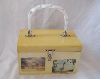 Wood box purse, top handle bags and purses, vintage wood handbag, decoupage purse, plastic mother of pearl handle