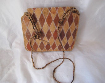 Patchwork leather handbag, bags and purses, 60s brown leather purse, tan shoulder bag