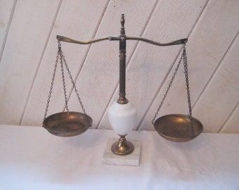Vintage brass scales, scales of justice, lawyer scales, marble base, mid century scales