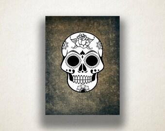 Rose Sugar Skull Canvas Art Print, Black and White Wall Art, Artistic Wall Art, Canvas Art, Canvas Print, Home Art, Wall Art