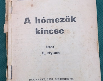 Hungarian book published in Budapest, Hungary in 1938, Tarka Regenytar, A homezok kincse, for sale