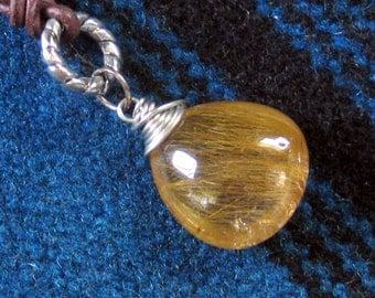 Rutilated Quartz Teardrop Leather Necklace Bohemian Jewelry
