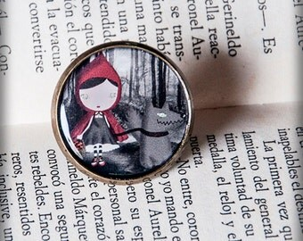 CAPERUCITA FEROZ (wild little red riding hood) adjustable ring illustration original gift art drawing fairy tale story wolf forest