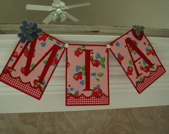 Girl name banner or bunting with wool hand embroidered accents