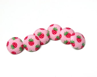 Fabric Buttons - 6 Medium Buttons - Pink Strawberry Fabric Covered Buttons - Kawaii Sew buttons - Kokka Sewing Button - Erdbeere Japanese