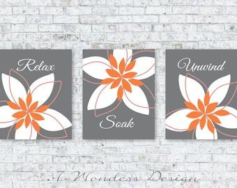 Bathroom Art Prints Relax Soak Unwind Abstract Floral Set of (3) 5x7 OR 8x10 // Orange, Gray // Modern Bathroom Home Decor - Unframed