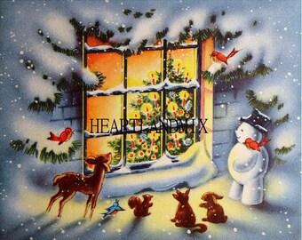 Christmas scene vintage download image