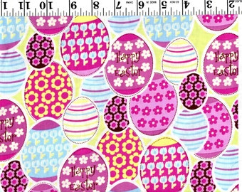 1 Yard, Multi Colored Easter Eggs Brother Sister Design B46-ET!-P04