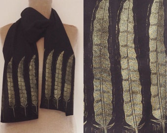 Hand print scarf // Vegan fashion Bamboo fabric // gift for her // Feather // Black and gold // Block printed // UK