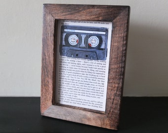 High Fidelity Mixtape Cassette tape Art print Framed book page Nick Hornby music record shop distressed dark wood frame Championship vinyl