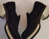 Vintage Platform Shoes 80's Hush Puppies Black Suede Platform Loafers Hipster Black Slip On Shoes Woman's Size 7M