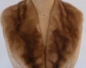 "Vintage Mink Collar Fur Wrap Decorative Mink Collar Cognac Brown Autumn Haze Mink Skins Replace Mink Collar Fur for Upcycle  32"" x 5"""