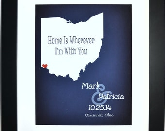 Ohio state art, anniversary gift, first home, ohio art, ohio state print, ohio print, ohio state wall art, ohio wall art