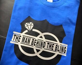 FIANCE SHIRT; fiancé gift; Groom shirt; groom gift; groom to be; the man behind the bling; mens clothing; wedding shirt; husband to be