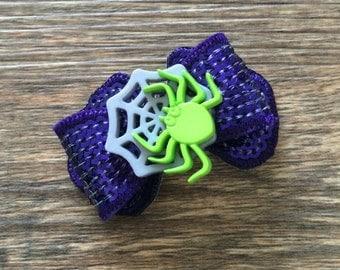 Halloween Spider Sequin Bow-Fancy Halloween Spider Hair Bow-Halloween Baby Bow-Halloween Dog Bow-Halloween Hair Tie-Halloween Hair Clip